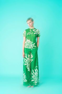 Longing For Sleep by Marit Ilison 2017 Collection 1 LFS Cotton Jersey T-Shirt Linen Wide Trousers Green Ecru SS17