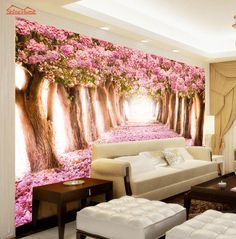 Pink Floral Flower Forest Road Room Wallpaper Landscape Photo Wallpaper for Wall 3 d Covering Bedroom Mural Roll Background Wall Painting Decor, Painting Wallpaper, Room Wallpaper, Photo Wallpaper, Wall Decor, Wall Paintings, Foto 3d, Tree Wall Murals, Photo Mural