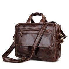Vintage Leather Men's 15'' Laptop Briefcases Messenger Shoulder Bag * Awesome product. Click the image : Valentine Gifts