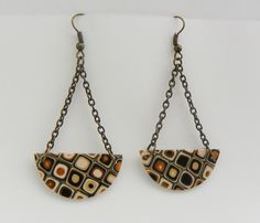 Handmade Gold polymer clay vintage inspired chandelier earrings with patina gold chain and hooks by modernmelon on Etsy