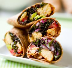 Kale Avocado Wraps w/ Spicy Miso-Dipped Tempeh. A vegan lunch that is sure to satisfy the most hungry of meat-eaters.