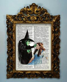 The Wizard of OZ  Dictionary page art print  by InsomniaStudios, .This  classic image of Dorthy and the Wicked Witch of the West is printed on a rescued vintage dictionary page