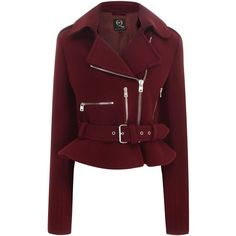 McQ Felt Biker Jacket ($419) ❤ liked on Polyvore featuring outerwear, jackets, coats, coats & jackets, tops, oxblood, biker jacket, red moto jacket, moto jacket and asymmetrical zip jacket
