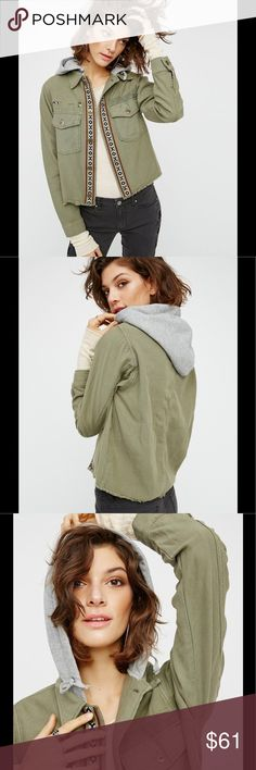 Free People Winter Wonder Military Jacket NWT Free People Winter Wonder distressed green military jacket Free People Jackets & Coats