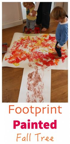 Kids LOVE walking in paint - and this autumn - fall tree craft project idea is…