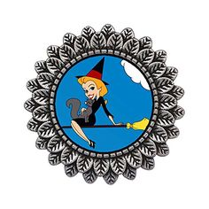 Ancient Style Silver Plate Halloween witch girl on broom…