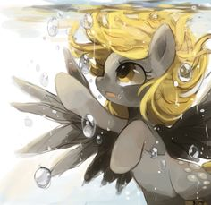 Derpy in water -- There was some headcannon discussion that Derpy could breathe underwater, and that's why her cutie mark is bubbles.