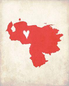 Venezuela Love Country Customizable Art Print by mereleemade, $16.00
