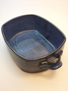 Blue rectangular ceramic / pottery serving dish with handles