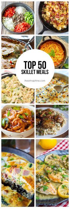 Top 50 Skillet Meals by Crystal of Cooking with Crystal for I Heart Naptime I am such a fan of one pot meals, so I thought I would compile a… Electric Skillet Recipes, Iron Skillet Recipes, One Skillet Meals, Cast Iron Recipes, Skillet Cooking, Cast Iron Skillet Meals, Yummy Recipes, Dinner Recipes, Cooking Recipes