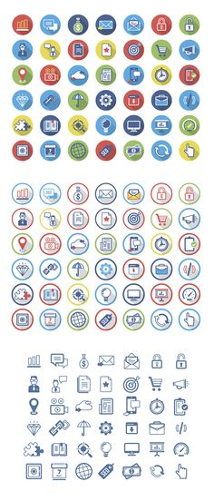 https://www.behance.net/gallery/12820239/Flat-Icons-Set also look at www.mateuszroth.pl