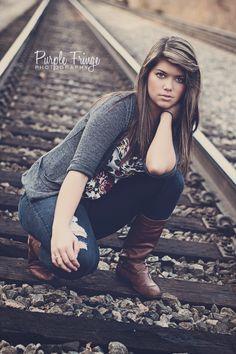 Portrait session, girl, rail road, train tracks - purplefringephotography.com