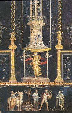 HOUSE OF THE VETTII - POMPEII third style painting -note attenuated delicate columns