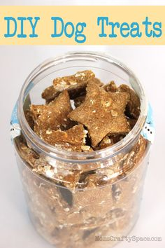 Home Made Puppy Dog Treats - simple three ingredient recipe that will save you tons of money!...I added banana, carrots and a couple pieces of bacon to this.