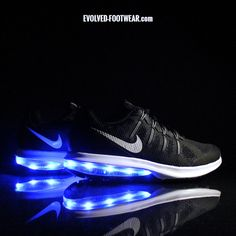 Evolved Footwear offers women's light up shoes on popular Nike models. We retrofit modern Nike Air Max with our own LED lights that will flash as you walk! Nike Air Max For Women, Nike Women, Nike Shoes, Sneakers Nike, Nike Models, Creative Shoes, Light Up Shoes, Color Change, Nike Free