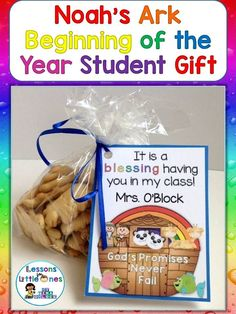 Noah's Ark student gift tag plus 14 more ideas & designs for simple & cute back to school, Open House, and/or Meet the Teacher student gifts. https://lessons4littleones.com/2016/07/19/back-to-school-open-house-meet-the-teacher-student-gift-tags/