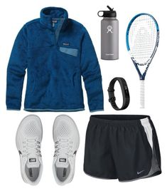 """What I wore to tennis"" by summerhlx ❤ liked on Polyvore featuring NIKE, Patagonia, Fitbit and Hydro Flask"