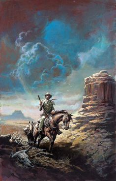 """gameraboy: """" Cowboy in the Valley, uncredited paperback cover artwork """" Westerns, Western Theme, Western Art, Western Cowboy, Cowboy Artwork, Cowboy Pictures, Cowboy Horse, Le Far West, Mountain Man"""