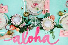 This Aloha-Themed Bridal Shower Is All Kinds of Tropical Chic via Brit + Co Luau Bridal Shower, Tropical Bridal Showers, Fiesta Shower, Aloha Party, Bachelorette Party Themes, Shower Inspiration, Bridal Musings, Blog Deco, Partys