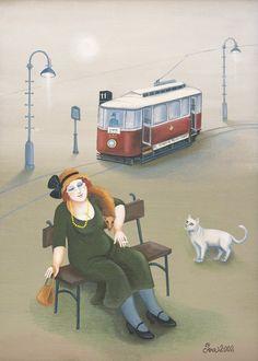 By Iva Huttnerova Socialist Realism, Man And Dog, Wonderful Picture, Wiccan, Cat Art, Female Art, Folk Art, Cat Lovers, Dog Cat