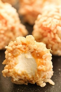 Caramel Marshmallow Rice Krispie Balls | Six Sisters' Stuff