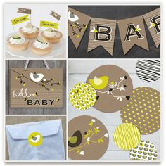 Nesting Bird Party Decor just launched at Minted.com by fatfatin. Indie-designed baby shower decor. Festive, all-in-one packages including bunting and more, starting at $65.