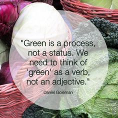 """""""Green is a process, not a status. We need to think of 'green' as a verb, not an adjective."""" -Daniel Goleman #quotes #sustainable"""