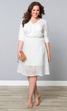 Our plus size Muse Lace Midi Skirt is on sale for 30% off!  Browse our entire made in the USA collection online at www.kiyonna.com.  #KiyonnaPlusYou