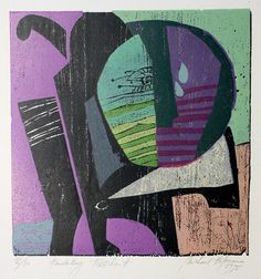 """ein-bleistift-und-radiergummi: """" Michael Hofmann Colour Woodcut 'Hund' 1995. """""""