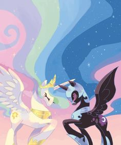 Japanese artist Mutagorou0w0's swirly girly painting of Princess Celestia and Nightmare Moon from the reincarnated My Little Pony series.