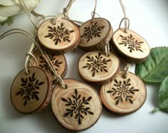8 Tree Branch Ornaments - Snowflake Wood burned Ornaments - Holiday Decor - 1 inch - Natural and Organic Decor Wine Charms Wooden Christmas Ornaments, Christmas Wood, Christmas Projects, Christmas Decorations, Ornaments Ideas, Snowflake Ornaments, Holiday Decor, Wood Snowflake, Simple Christmas