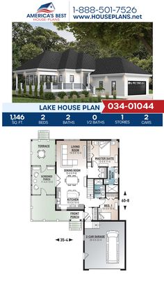 A dazzling Lake house, Plan 034-01044 offers 1,146 sq. ft., 2 bedrooms, 2 bathrooms, a sunroom, a kitchen island, an open floor plan, and a 2 car garage. #lakehouse #onestoryhome #sunroom #architecture #houseplans #housedesign #homedesign #homedesigns #architecturalplans #newconstruction #floorplans #dreamhome #dreamhouseplans #abhouseplans #besthouseplans #newhome #newhouse #homesweethome #buildingahome #buildahome #residentialplans #residentialhome