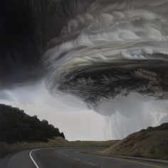 Texas-based artist Michelle Manley explores the intensity of nature through dramatic acrylic paintings. In her Storm series, she uses earthy color palettes to create landscapes filled with dark clouds swirling together into distant and powerful storms. As the severe weather overtakes the atmosphere, the clouds seem to take on a life of their own