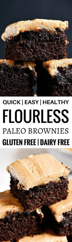 Best healthy paleo coconut flour brownies topped with a smooth and creamy peanut butter frosting (almond butter for paleoers). Each brownie has 16g protein! Best gluten free brownies. Best paleo brownies recipe. Fudgey paleo brownie recipe. Fudgey chocola