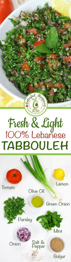Fresh & Light Authentic Lebanese Tabbouleh is part of Lebanese tabbouleh - Lebanese Tabbouleh is a lemony fresh herb salad with cracked wheat This salad is rich in antioxidants, minerals and packed with vitamin K Lebanese Recipes, Greek Recipes, Light Recipes, Vegetarian Recipes, Cooking Recipes, Healthy Recipes, Red Quinoa Recipes, Bulgur Recipes, Parsley Recipes