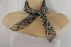10.77$  Buy here - http://viafu.justgood.pw/vig/item.php?t=nz5yg23560 - Women Small Neck Scarf Fabric Square Pocket Fake Snake Skin Animal Print Grey