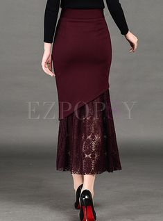 Shop Long Slim Lace Asymmetric Patch Skirt at EZPOPSY. Curvy Fashion, Plus Size Fashion, Fashion Looks, Skirt Fashion, Fashion Outfits, Denim Shirt Style, Cheap Maxi Dresses, Plus Size Kleidung, African Fashion Dresses