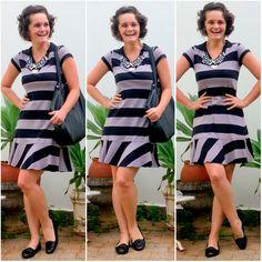blog v@ LOOKS | por leila diniz: LISTRADO no vestido com MAXI COLAR parecendo um BABADO + msg de DEUS