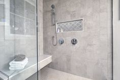Custom made design tiles, hand-made engraved decorative backsplash designs, water-jet cut marble mosaics and the most exotic slabs from all around the world. Country Style Bathrooms, Bathroom Bench, Shower Storage, Upholstered Stool, Bench Designs, Big Bathrooms, Decorative Tile, Walk In Shower, Make Design