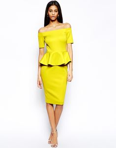 ASOS Bardot Peplum Hem Midi Dress http://asos.to/1rfMJyf