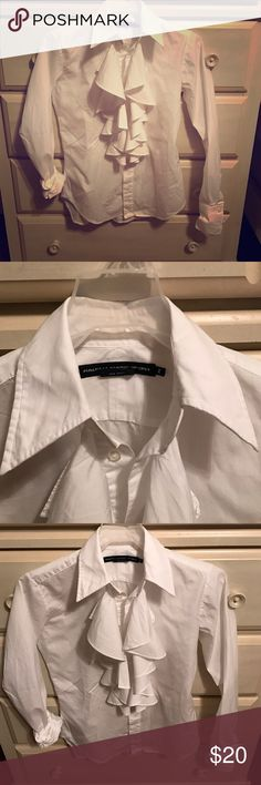 White ruffle polo button down White-ruffles-2-button down Ralph Lauren Tops Button Down Shirts