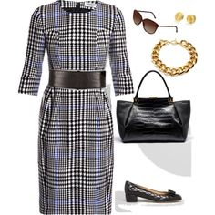 YSL ~ Love the lg scale Prince of Wales plaid, the Lanvin bag, Burberry sunglasses...comfortable Ferragamo walking shoes