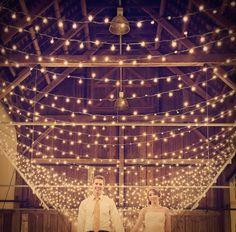 Wedding & Reception Lighting Ideas - use a giant net of lights.