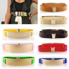 Sexy Bling Gold Metal Metallic Mirror Plate Wide Waist Stretch Elastic Belt Band free  shipping #Affiliate