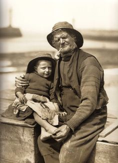 Tom Storr places a protective arm around his great nephew - Robert ''Dandy'' Storr - Whitby - North Yorkshire - England - 1884