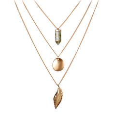 New24K Gold Plated Multi Layer Long Chains Necklace Multilayer Shiny Leaf Shape Bullet Natural Stone Pendant Necklace For Women - ExtremShopping for Fashion Electronics Beauty and Health