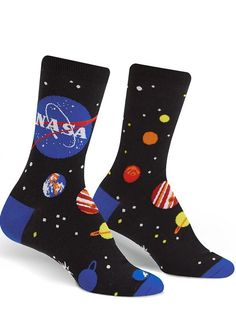 Some cool socks to rock out on a daily routine. #happyfeet #creative #classystyle Funky Socks, Crazy Socks, Cute Socks, Women's Socks, Cool Socks For Men, Odd Socks, Socks Outfit, Space Socks, Nasa Planets