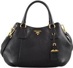 Prada Daino Medium Shoulder Tote Bag, Nero on shopstyle.com