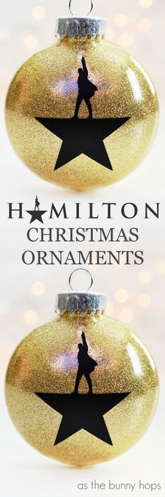 Make and easy, glittery and fun DIY Hamilton Christmas Ornaments!