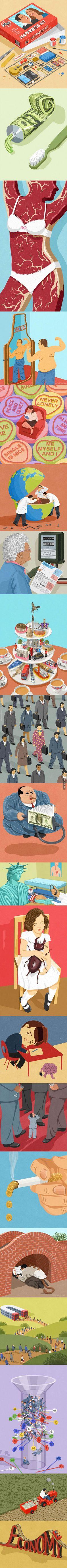 Satirical Illustrations By John Holcrof.